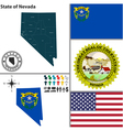 Map of Nevada with seal vector image