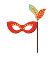 mask with feathers isolated icon design vector image