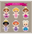 Set of stickers with princesses vector image