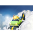 Traveling by car in the clouds background vector image