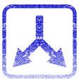 bifurcation arrow down framed textured icon vector image