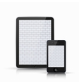 computer tablet with smartphone on white vector image vector image
