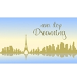 Beautiful france city of silhouette vector image