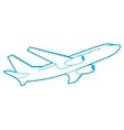 outline passenger plane bottom view vector image