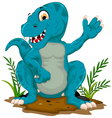 cute tyrannosaurus cartoon sitting for you design vector image