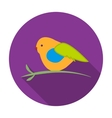Bullfinch sitting on a branch icon in flat style vector image