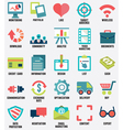 Set of media service flat icons - part 1 - icons vector image