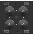 Glossy modern black plastic buttons with pointer vector image