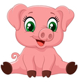 Cartoon adorable baby pig vector image vector image