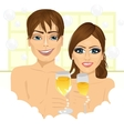 couple making toast with champagne in bathtub vector image