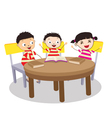 A Small Group of Kids Open Book and learning vector image