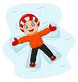 Cartoon little boy lying on the snow vector image