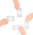 Hand with blank card set graphic eps10 vector image