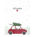 retro red car with tree on the top vector image
