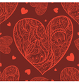 Seamless pattern with doodle heart vector image