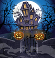 Happy Halloween cozy haunted house behind a wall Vector Image