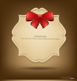 Greeting card with red bow vector image vector image