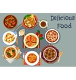 Portuguese cuisine lunch with pie dessert icon vector image