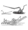 Plough vintage engraving vector image vector image
