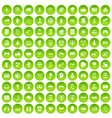 100 hi-tech icons set green circle vector image vector image