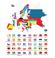 world map and flags vector image