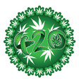 Marijuana symbolic 420 text design green sticker vector image