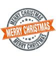 merry christmas round orange grungy vintage vector image