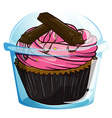 A transparent label with a chocolate cupcake vector image