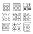 Calculator linear or outline icons set vector image