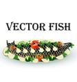 fish fried stuffed with lemon vector image