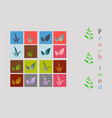 leaves icon set isolated on background various vector image