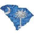 South Carolina map on a brick wall vector image