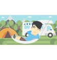 Man lying in hammock in front of motor home vector image