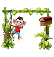 A monkey with a wooden mailbox vector image vector image
