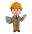 Cartoon engineer with notebook vector image vector image