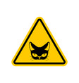 attention cat danger yellow road sign pet caution vector image