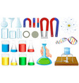 Different sizes of beakers and magnets vector image