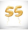 golden number 55 fifty five metallic balloon vector image