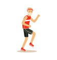 happy senior runner man doing exercise to stay vector image