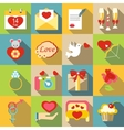 Saint Valentine symbols icons set flat style vector image