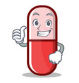 thumbs up pill capsule cartoon character vector image