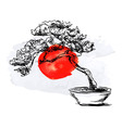 Bonsai and watercolor Japanese flag vector image