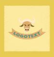 flat shading style icon bull logo vector image