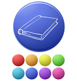 Small buttons and a big button with a notebook vector image vector image