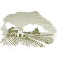 farm scene landscape with barn vector image