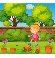 Angry girl kicking potted plants in the garden vector image