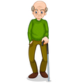 An old man standing with a cane vector image