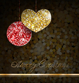 gold glitter christmas decorations vector image