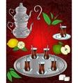 line icon Turkish tea set vector image