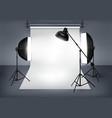 Photo studio with lighting equipment vector image